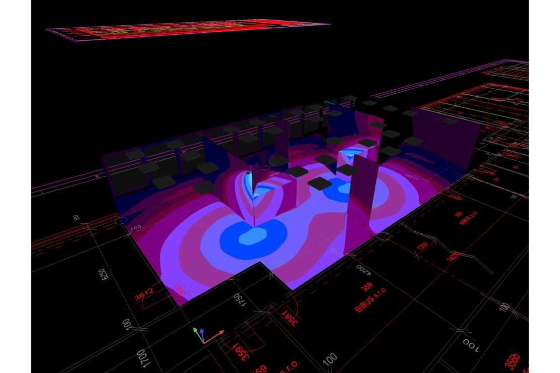 Kanceláře BIBUS s DALI řízením svítidel / vizualizace